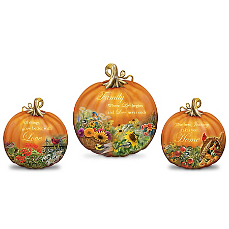 Life's Bounty Illuminated Pumpkin Sculpture Collection