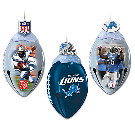 NFL Detroit Lions FootBells Christmas Ornament Collection