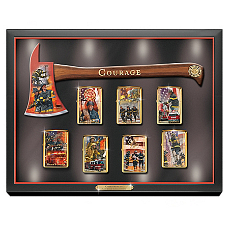Commitment To Courage Zippo Lighter Collection With Lighted Display