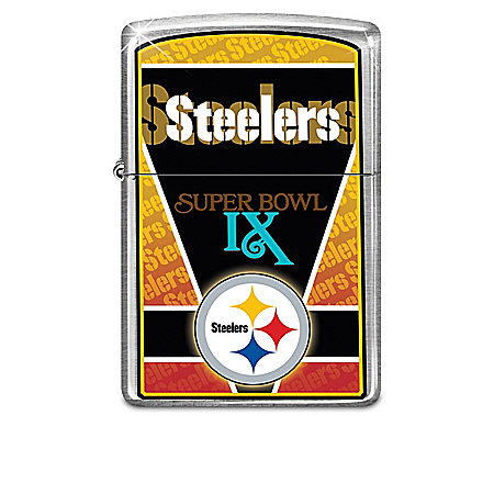 NFL Pittsburgh Steelers Zippo Windproof Lighter Collection with Lighted Display