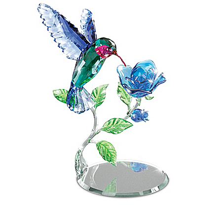 Crystal Hummingbird Figurine Collection with Mirror Bases: Bradford Exchange