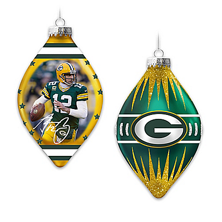 Green Bay Packers Heirloom Glass Ornament Collection