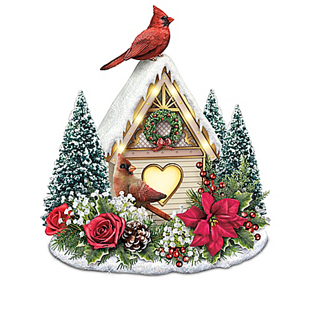 Holiday Birdhouse Illuminated Always In Bloom Songbird Table Centerpiece Collection