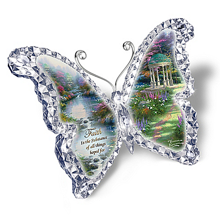 Thomas Kinkade Crystalline Butterfly Sculptures with Garden Art and Scripture