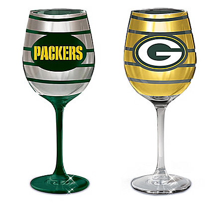 Green Bay Packers Dark Green And Gold Wine Glass Collection