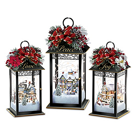 Thomas Kinkade Sparkle Of The Season Lantern Table Centerpiece Collection