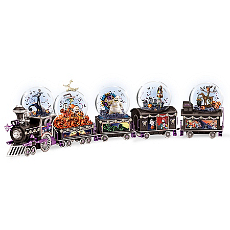 Handcrafted Disney Tim Burton's The Nightmare Before Christmas Glitter Globe Train Collection
