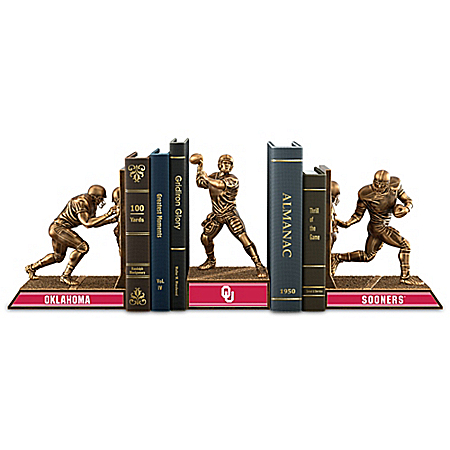 Oklahoma Sooners Football Legacy Cold-Cast Bronze Bookends Collection