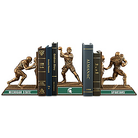 Michigan State Spartans Football Legacy Cold-Cast Bronze Bookends Collection