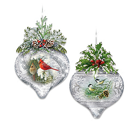 Winter Wildlife Handcrafted Glass Ornament Collection