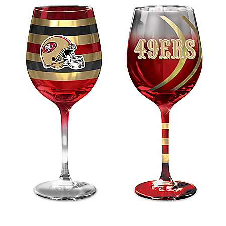 NFL San Francisco 49ers Wine Glass Collection: Set Of Two Stem Wine Glasses