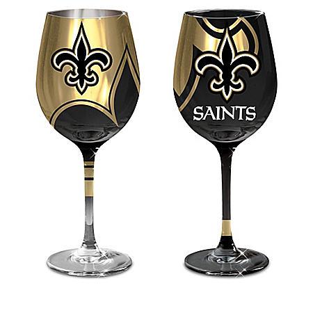 New Orleans Saints NFL Wine Glass Collection: Sets of 2