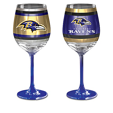 NFL Baltimore Ravens Wine Glass Collection: Set Of Two Stem Wine Glasses