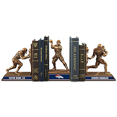 Denver Broncos Super Bowl 50 Cold-Cast Bronze Bookends Collection