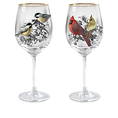 Birds And Blossoms Wine Glass Collection: Set Of Two Stem Wine Glasses
