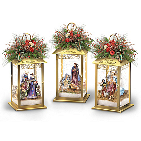 Thomas Kinkade Illuminated Blessings Nativity Lantern Table Centerpiece Collection