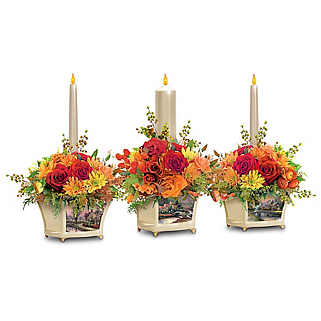 Thomas Kinkade Autumn Blessings Illuminated Centerpiece Collection