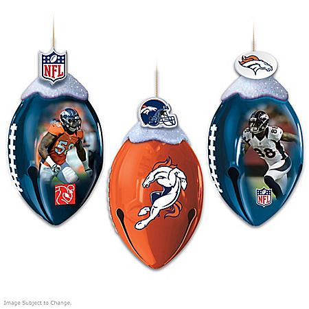 NFL Denver Broncos FootBells Christmas Ornament Collection