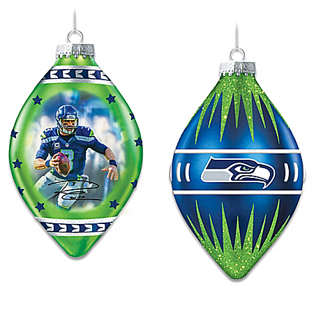 Seattle Seahawks Heirloom Glass Ornament Collection