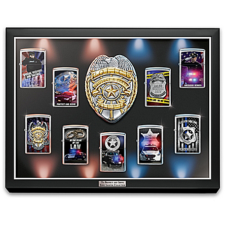 Police Zippo Lighters and Display Case with Sculpted Badge: Bradford Exchange