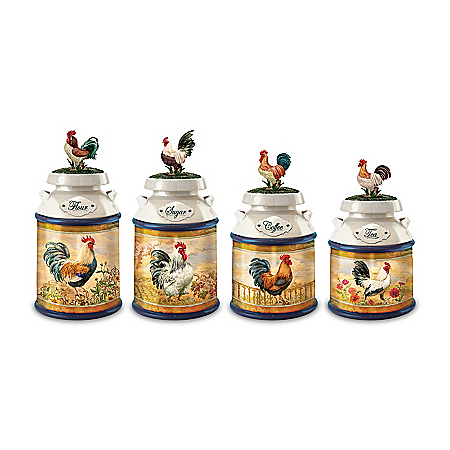 Country Morning Rooster Kitchen Canister Collection