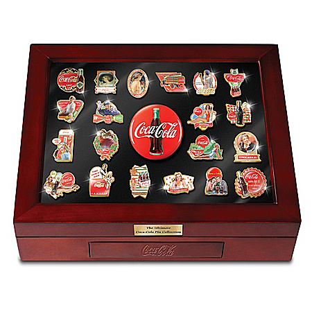 The Ultimate COCA-COLA Pin Collection With Tabletop Case