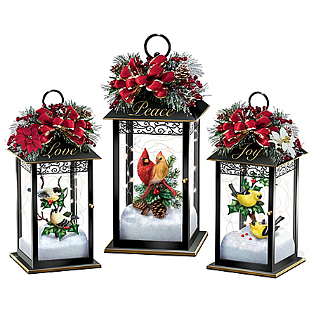 Holiday Songbird Lantern Centerpiece Collection with Lights: Bradford Exchange