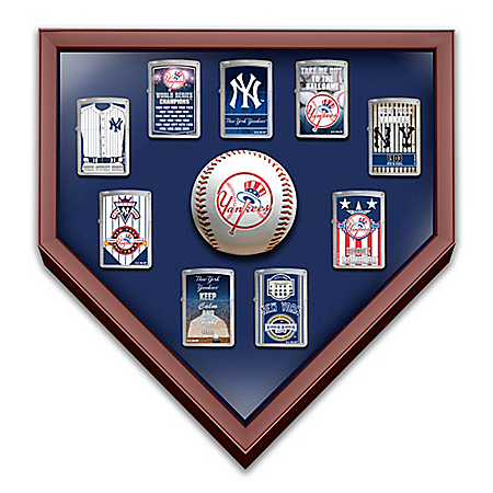 New York Yankees 9 Zippo Windproof Lighter Collection with Custom Display