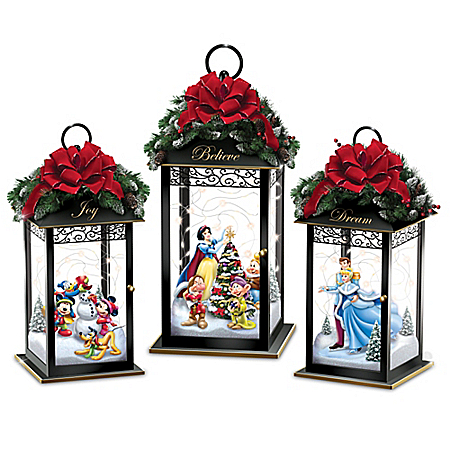 Disney Characters Holiday Lantern Collection Lights Up: Bradford Exchange