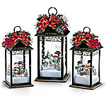 Thomas Kinkade Sparkling Snowfall Illuminated Holiday Table Centerpiece Snowman Lantern Collection