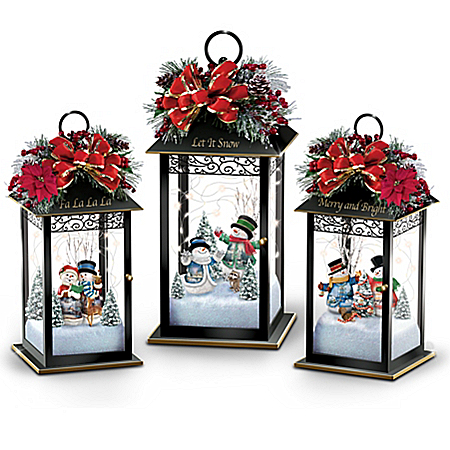 Holiday Snowman Lantern Table Centerpieces with Thomas Kinkade Art Light Up