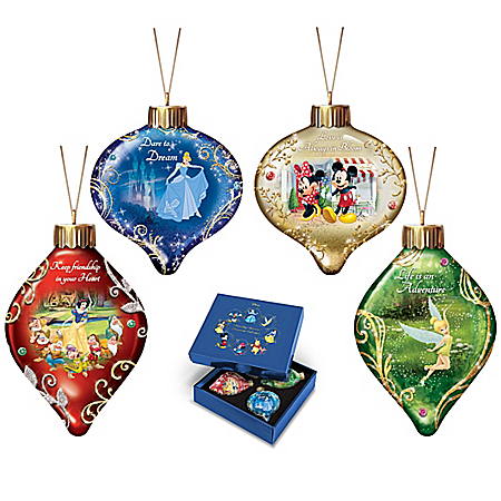 Disney Dazzling Dreams Character Glass Ornament Collection Lights Up: Sets of 4