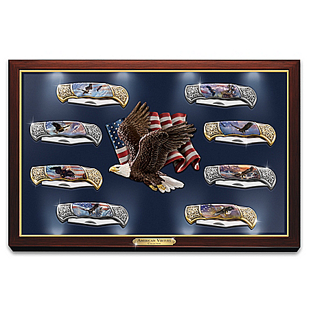Folding Pocket Knife Collection with Ted Blaylock Eagle Art and Lighted Display