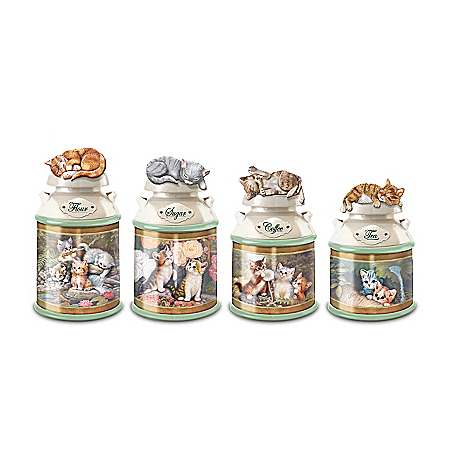 Jurgen Scholz Cozy Kittens Sculpted Cat Canister Collection With Freshness Seal