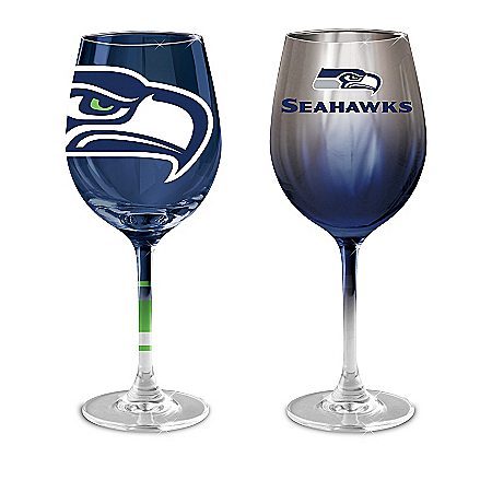 NFL Seattle Seahawks Wine Glass Collection: Set Of Two Stem Wine Glasses