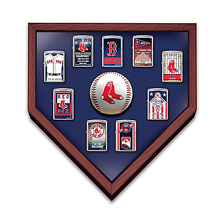 Boston Red Sox 9 Zippo Windproof Lighter Collection with Custom Display