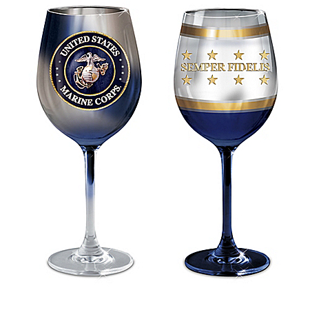 USMC Military Wine Glass Collection