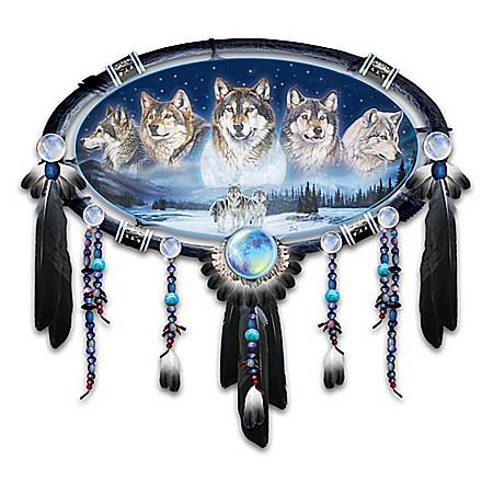 Al Agnew Moonlit Spirits Illuminated Wolf Dreamcatcher Wall Decor Collection