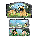 Lovable Pugs Personalized Welcome Sign Home Decor Collection