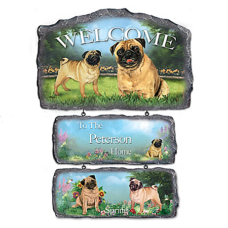 Lovable Pugs Personalized Welcome Sign Home Decor Collection 904851