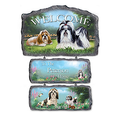 Lovable Shih Tzus Personalized Welcome Sign Home Decor Collection