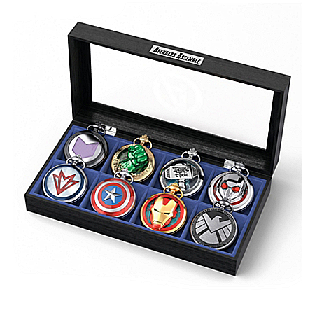 MARVEL AVENGERS Pocket Watch Collection With Custom Glass-Covered Display Case 904882