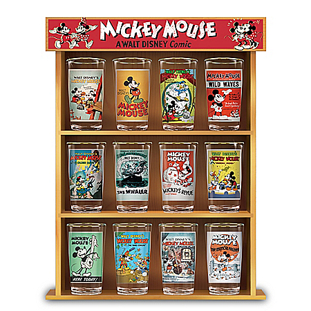 Disney Mickey Mouse Vintage Comic Glass Collection With Wooden Display Case