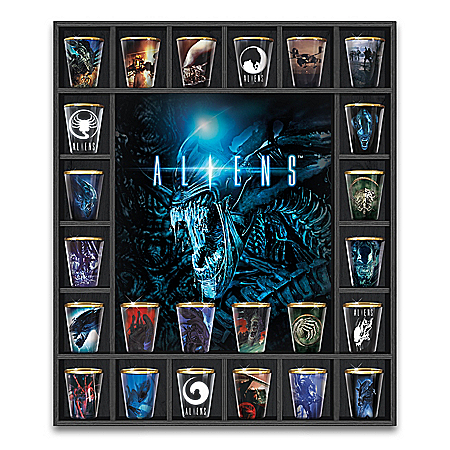 Aliens Shot Glass Collection With Custom Wooden Display Case 904899