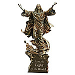 Light Of The World Religious Illuminated Cold-Cast Bronze Sculpture Collection