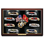 USMC - Semper Fi Forged Steel Pocket Knife Collection With Custom Illuminated Display Case