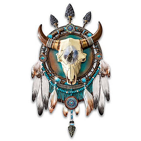 James Meger Wolf Art and Sculpted Bison Skull Dreamcatcher Wall Decor Collection