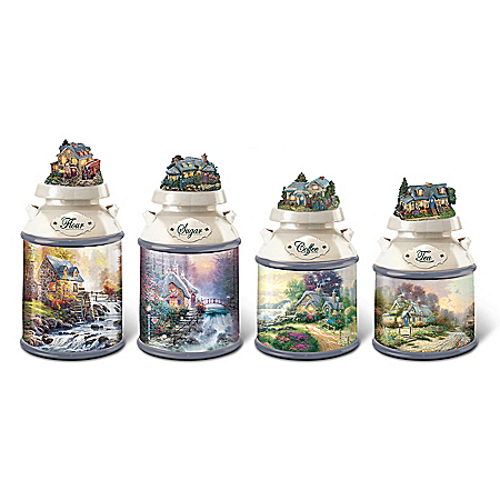 Thomas Kinkade Home Sweet Home Canister Collection With Silicone Seal