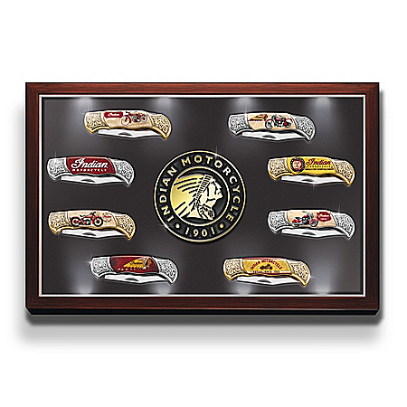 Indian Motorcycle Folding Pocket Knife Collection: Display Case Lights Up