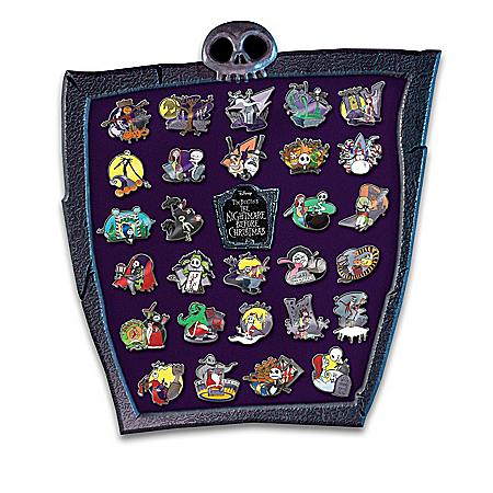 Disney Tim Burton's The Nightmare Before Christmas Pin Collection With Custom Display Case